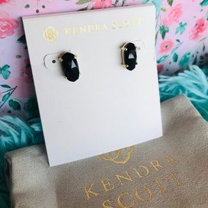 Kendra Scott NWOT Betty Black & Gold Stud Earrings